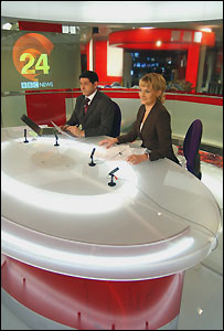 Jon Sopel and Louise Minchin in the BBC News 24 studio