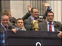 England's players have been greeted by thousands of fans on their Rugby World Cup victory parade