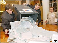 Polling station in St Petersberg