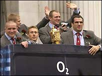 Martin Johnson and his team head out on their victory parade