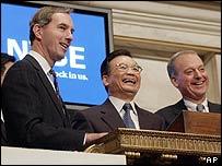 Wen Jiabao at New York Stock Exchange