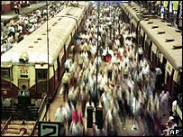 Bombay railway station during rush hour