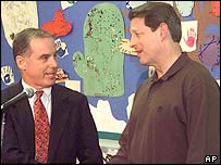 Former Vice President Al Gore (right) shakes hands with former Vermont Governor Howard Dean. Picture: January 2000