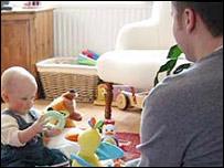 A man babysitting