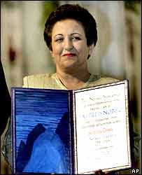 Shirin Ebadi holds the Nobel diploma at the Oslo ceremony