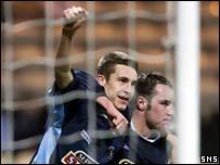 Colin Nish celebrates at Firhill