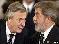 Néstor Kirchner y el presidente de Brasil, Lula da Silva