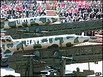 Nuclear-capable Hatf missiles on parade in Islamabad