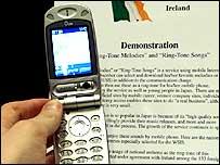 Mobile phones on display