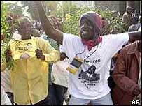 Kibaki supporters celebrating the 2002 election victory