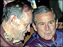 Jean Chretien (left) and George W Bush
