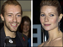 Actress Gwyneth Paltrow (r) and singer Chris Martin