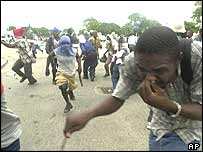 Protesters in Port-au-Prince on Thursday