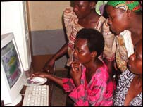 African women learning to use a computer, BBC