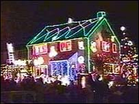 House lit up at Christmas