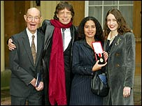 Sir Mick with father Joe and daughters Elizabeth (right) and Karis