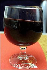 Wine glass on tilting train