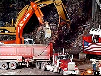 The ruins of the World Trade Center are loaded onto trucks at Ground Zero