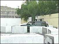 Concrete blocks outside the British embassy in Yemen