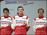 Toyota test driver Ricardo Zonta (left) with race drivers Olivier Panis (centre) and Cristiano da Matta