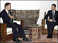 Syrian President Bashar al-Assad speaks with US Congressman Christopher Cox