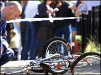 Bicycle examined at death scene