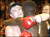 Ricky Hatton hugs Ben Tackie after defending his title