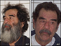 Saddam Hussein under arrest - with beard and without beard