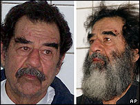 Saddam Hussein pictured after arrest