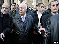 Shevardnadze outside parliament during protests