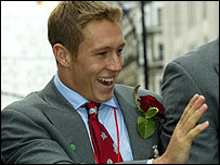 Jonny Wilkinson waves to the crowds on England's World Cup victory parade
