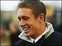 Jonny Wilkinson smiles as he asked to draw the half-time raffle at Newcastle