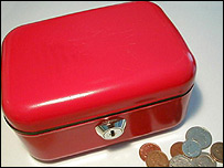 Moneybox and coins