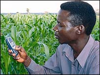 Farmer with mobile phone