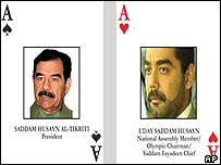 Two of the cards issued to identify Iraq's most wanted