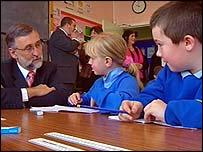 Peter Peacock with primary school children