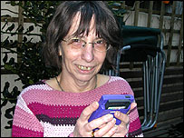 Barbara Flynn with her GameBoy