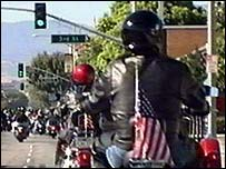Bikers arrive at a motorbike rally in America
