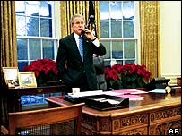 President Bush in the Oval Office