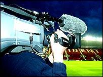 A cameraman films at Southampton's St Mary's stadium