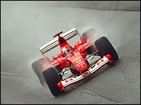 Michael Schumacher on his way to winning the US Grand Prix