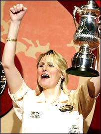 World Champion Trina Gulliver celebrates victory in 2003