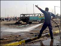 Aftermath of the fuel tanker explosion, Baghdad, 17 December 2003