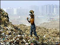 Boy scavenges on rubbish dump
