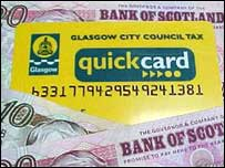 Council tax card and money