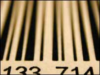 Close up of barcode, BBC