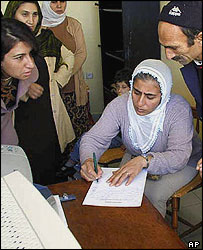 Woman registers for Kurdish courses at a language school in the predominantly Kurdish city of Batman
