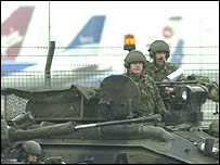 Troops in Heathrow