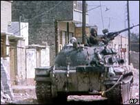 An Iraqi tank in an unidentified street during the Iran-Iraq war
