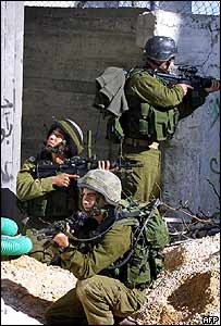 Israeli troops in the Nablus area